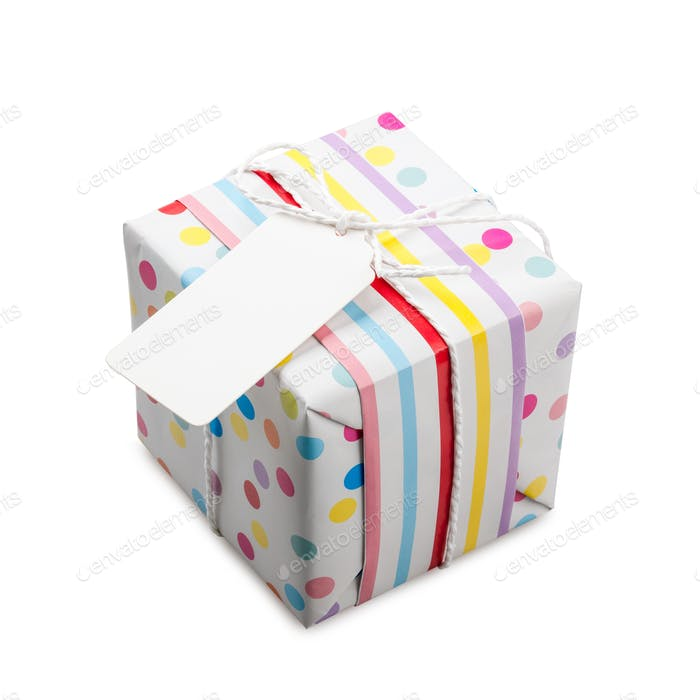 Polka dot gift box on white background