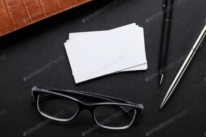 Blank business cards. With space for your text