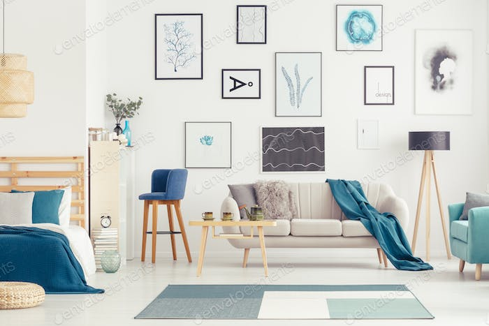 Blue open space with posters