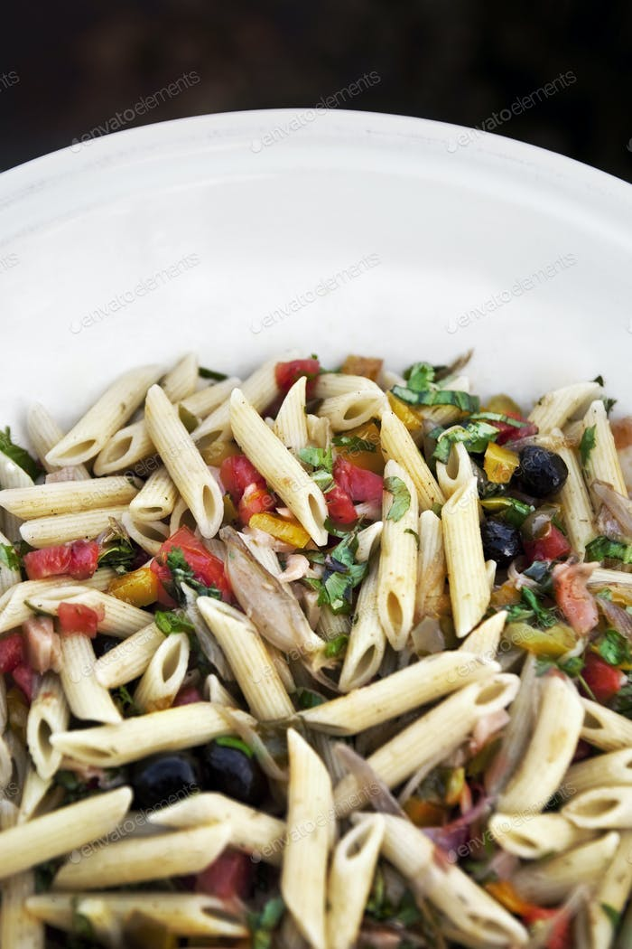 Pasta and Summer ingredients in a bowl