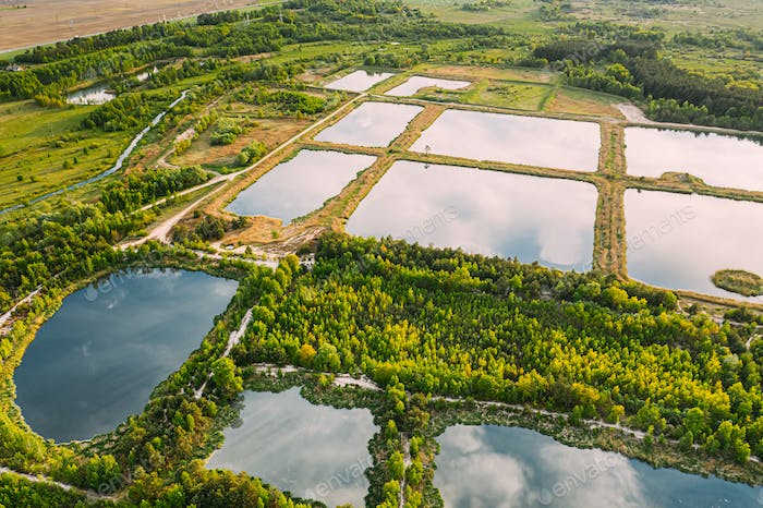 Aerial View Retention Basins, Wet Pond, Wet Detention Basin Or Stormwater Management Pond, Is An