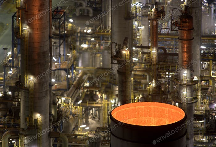 Chemical Industry And Glowing Chimney