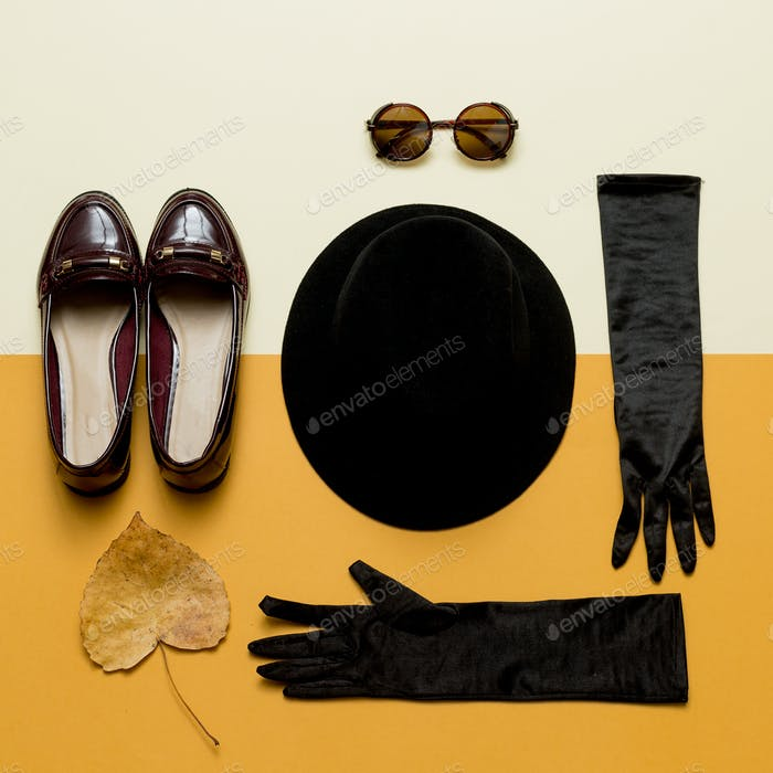 Vintage outfit Hat, gloves, sunglasses. Shoes. Autumn Lady Retro