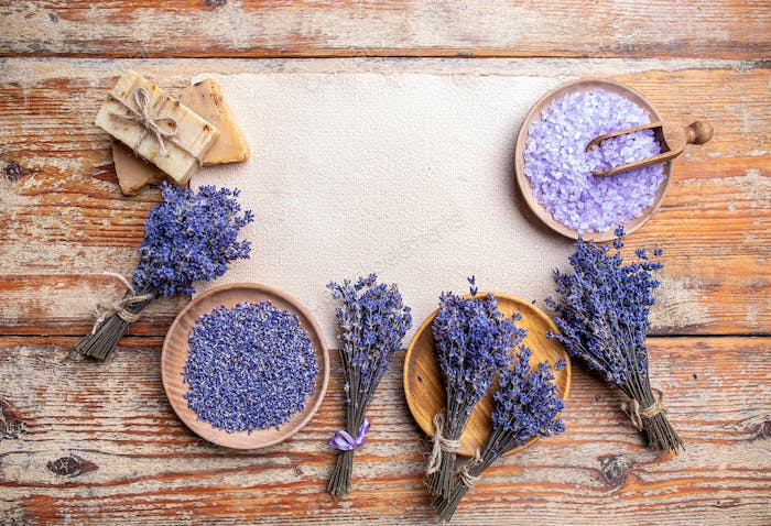 Plates with dried lavender