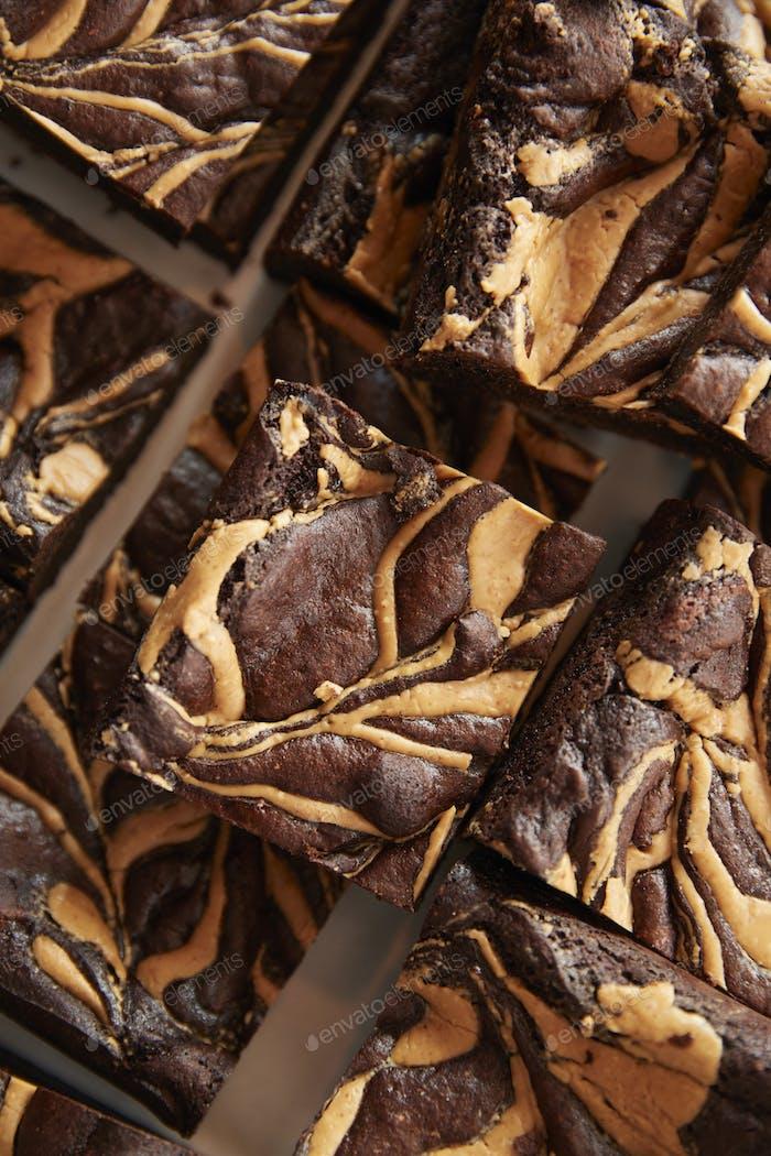 Display Of Freshly Baked Peanut Brownies In Coffee Shop