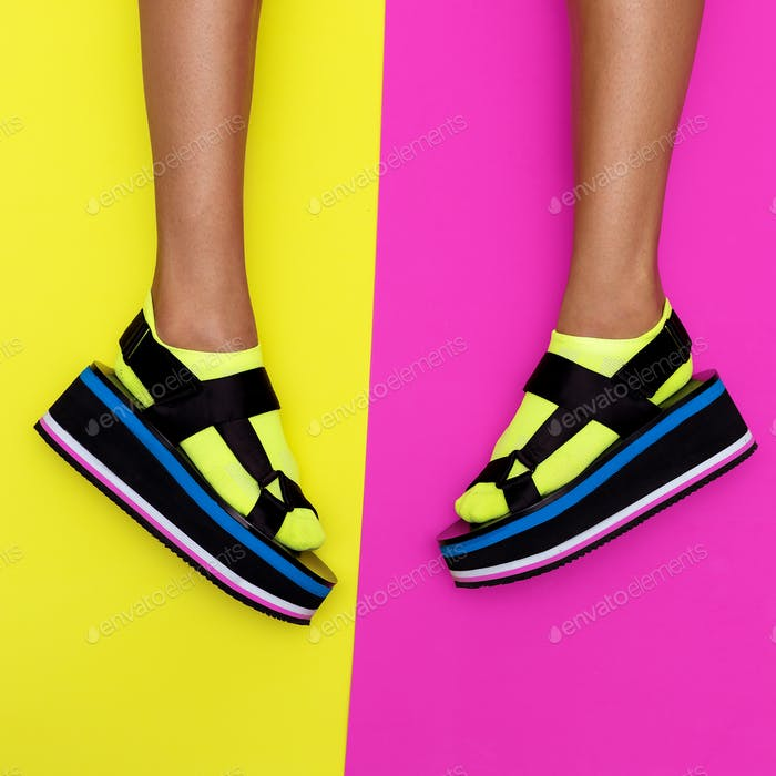 Platform trend. Stylish shoes for girls