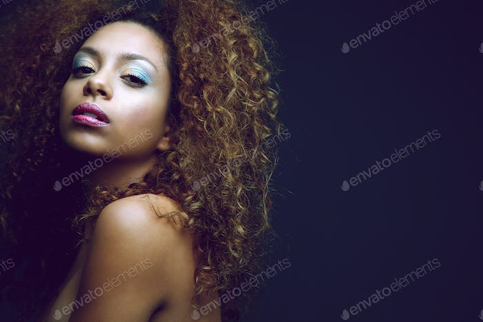 Beauty portrait of a sexy african american woman