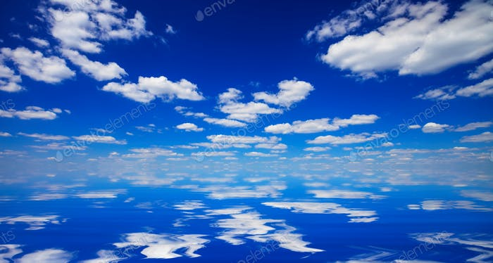 sky and clouds reflected in water