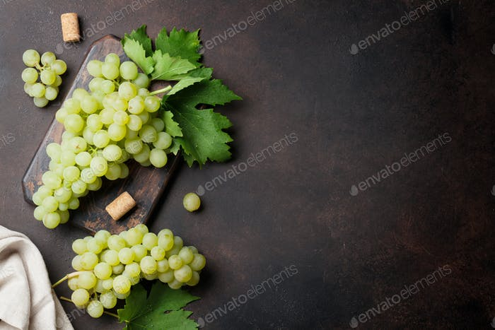 Grapes on stone background