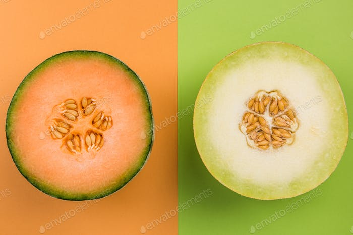 Cantaloupe and Honeydew Whole MElon Sliced in Half, Top View, Pa