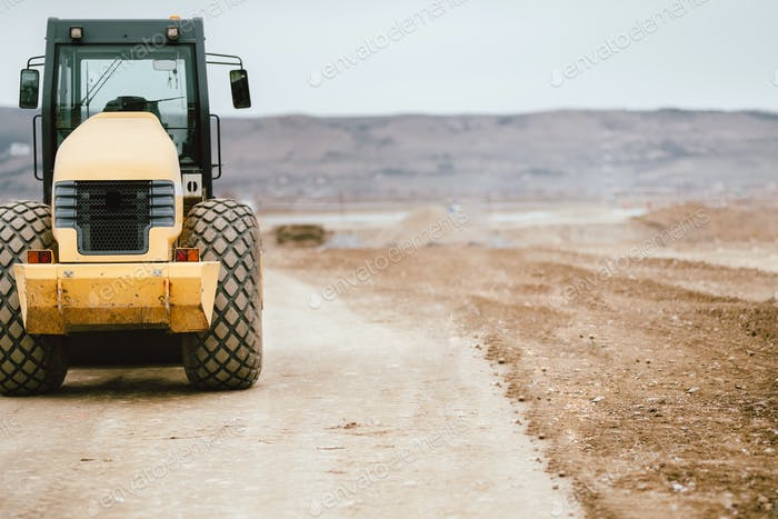Tandem roller vibratory industrial machinery on road construction site