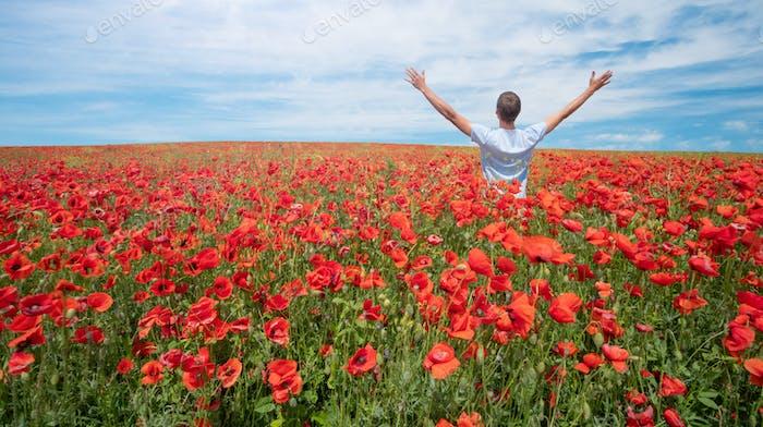 Man in meadow of poppy