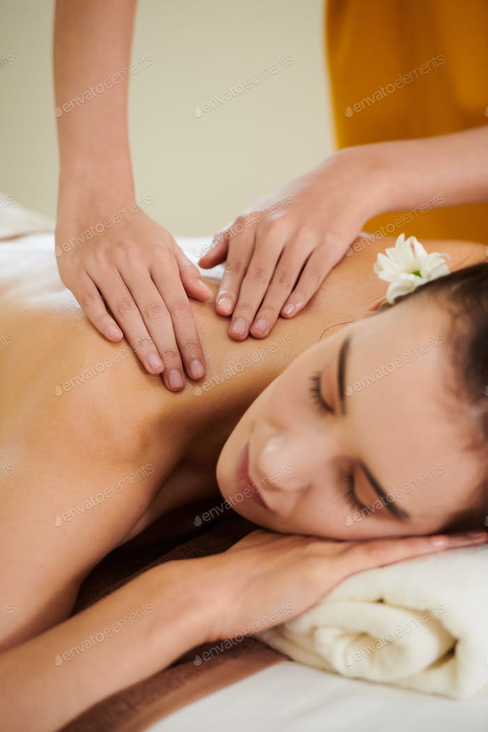 Girl relaxing during massage