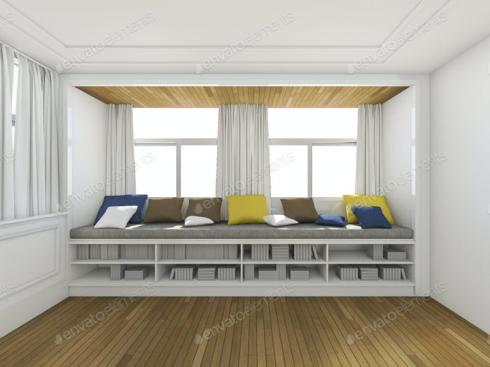 3d rendering sitting place with pillow and bookshelf