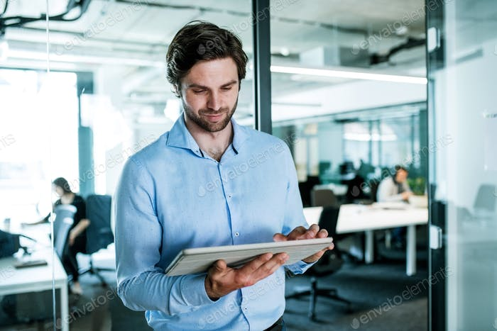Portrait of young businessman with tablet standing in an office, working.