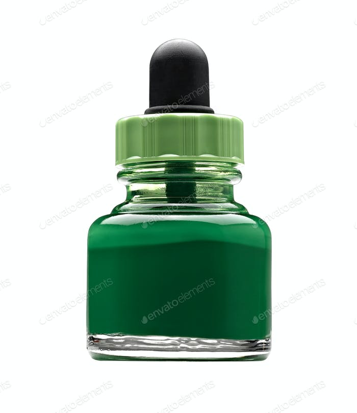 Pot of green acrylic color