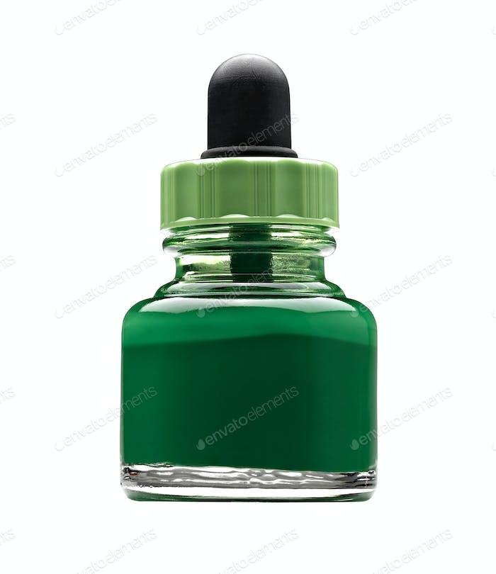 Pot of green acrylic color