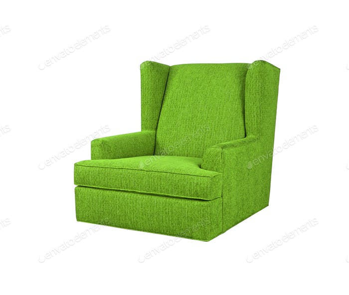 Green armchair isolated on white