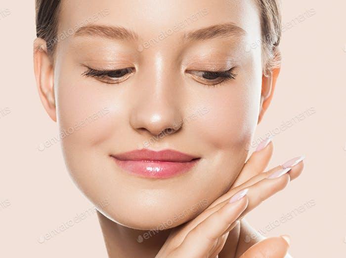 Woman face close up beauty macro eyes lips skin tone