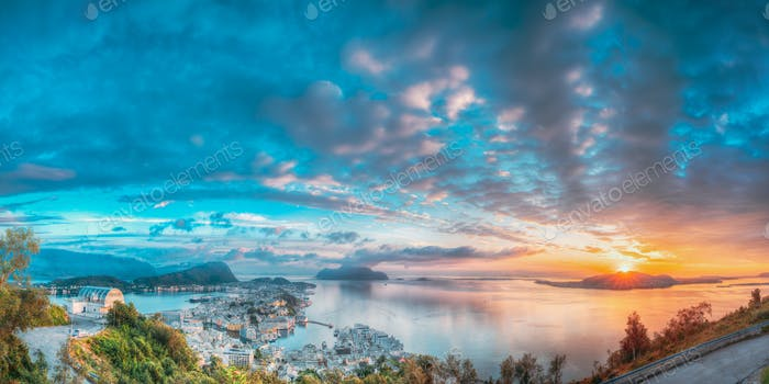 Alesund, Norway. Amazing Natural Bright Sunset Dramatic Sky In Warm Colours Above Alesund Islands