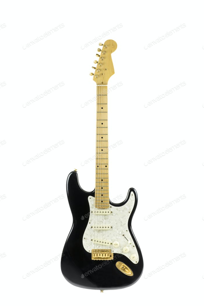 isolated electric black and white guitar