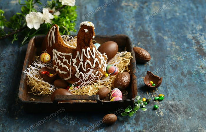 Chocolate Easter Cake Chicken