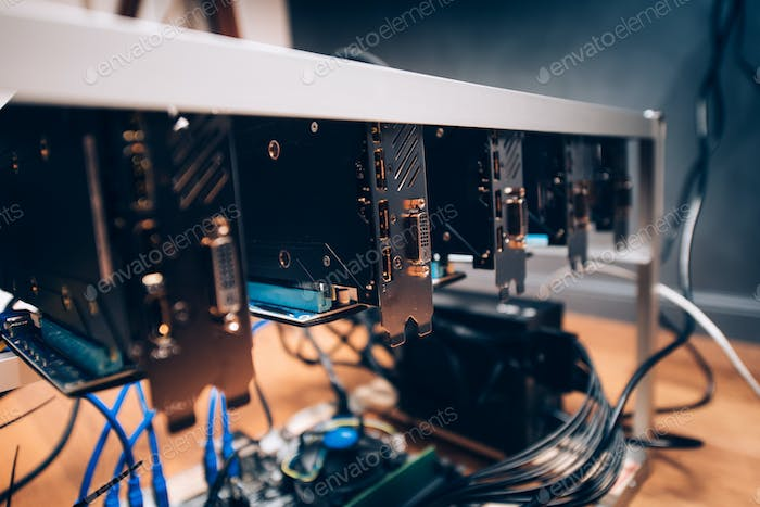Crypto currency digital coins mining rig, graphics cards mining rig