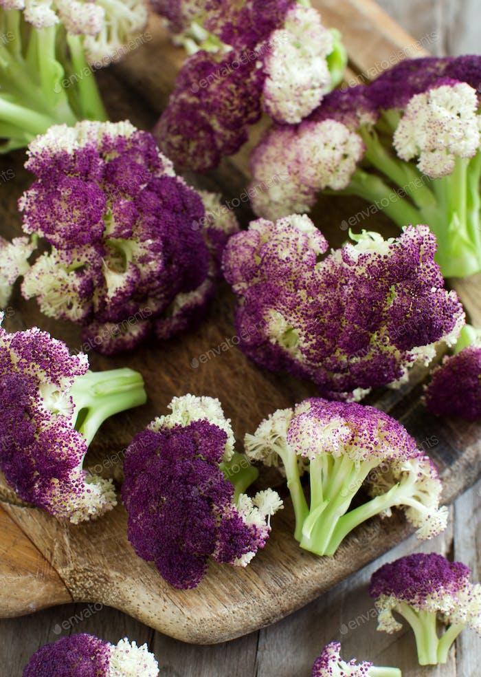 Fresh raw purple cauliflower