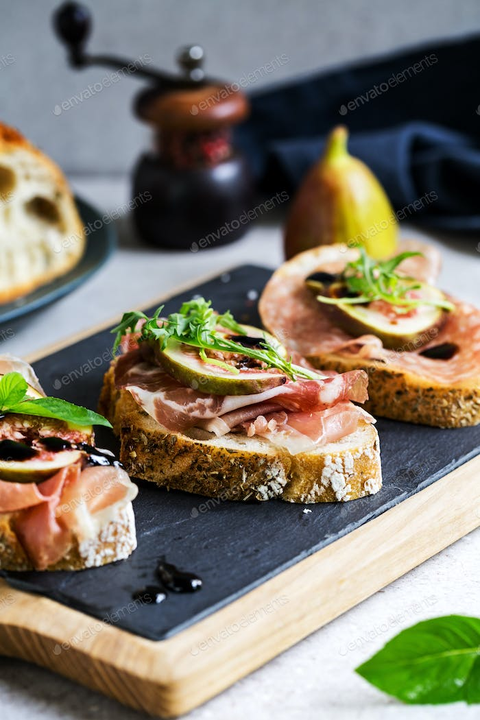 Varieties of Cured Ham with Fig Bruschetta