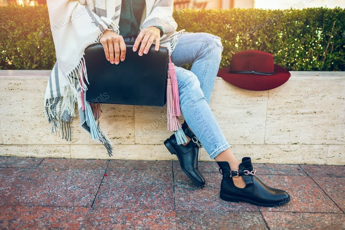 attractive woman in street style fashion