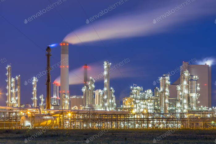 Modern chemical plant at night