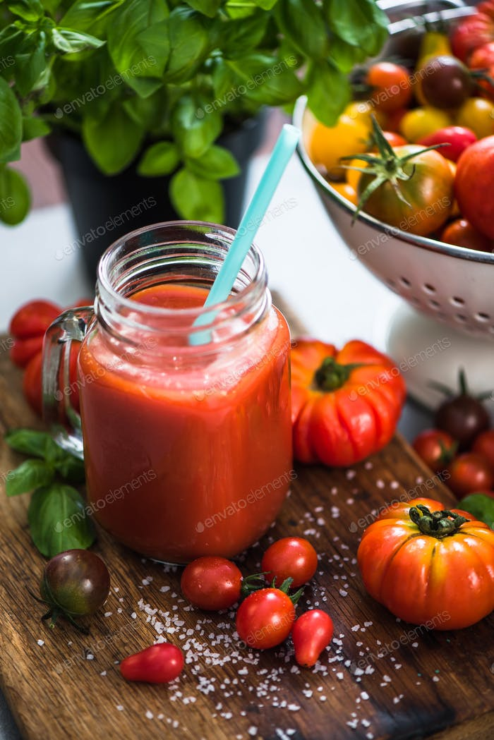 Homemade fresh and healthy tomato juice