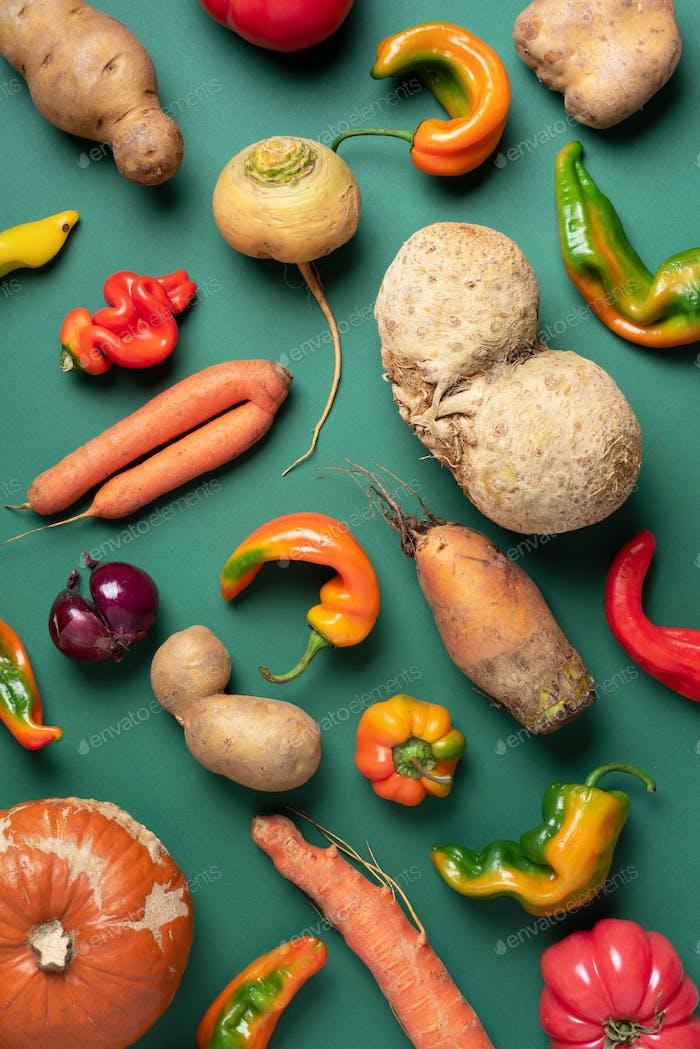 Trendiges hässliches Bio-Gemüse. Sortiment von frischen Auberginen, Zwiebeln, Karotten, Zucchini, Kartoffeln