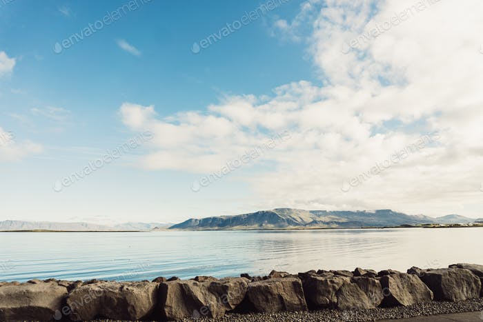 beautiful seascape and mountains in Iceland