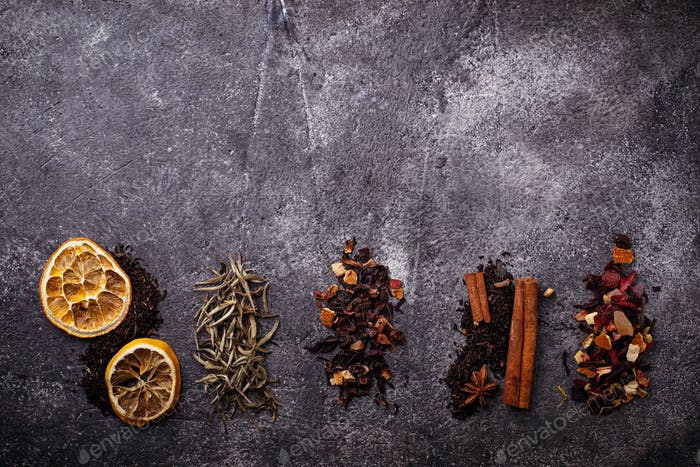 Various kinds of dry tea