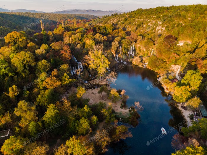 Aerial view of Kravica waterfall in Bosnia and Herzegovina