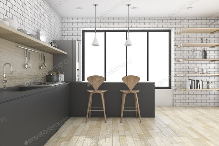 3d rendering black kitchen with shelf and decor