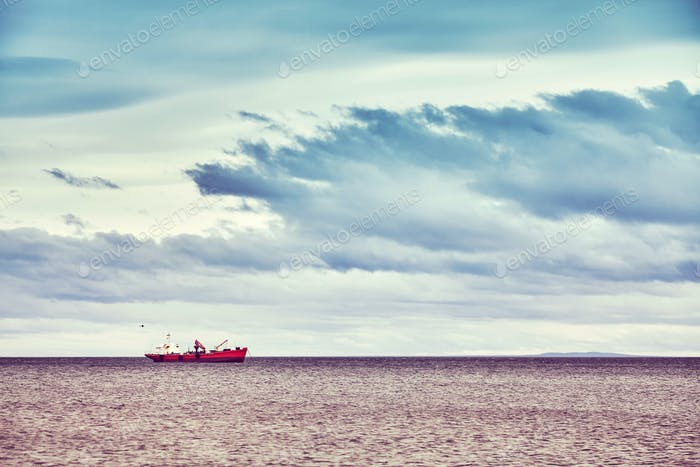 Lonely ship, Punta Arenas, Chile.