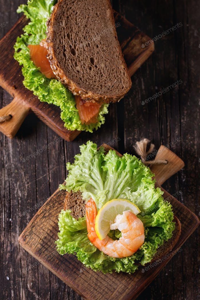 Sandwich mit Meeresfrüchten