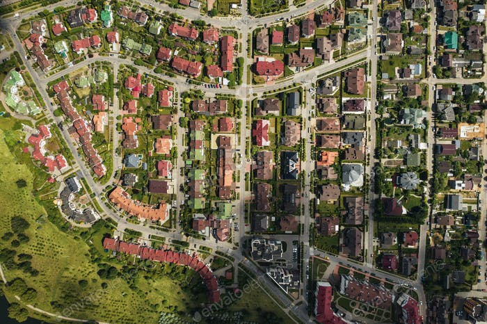 aerial photography from above of a large number of houses in the Eastern district of Minsk.The