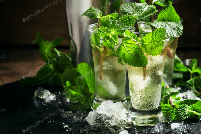 Alcoholic cocktail with vodka, mint tea, lemon juice, ice