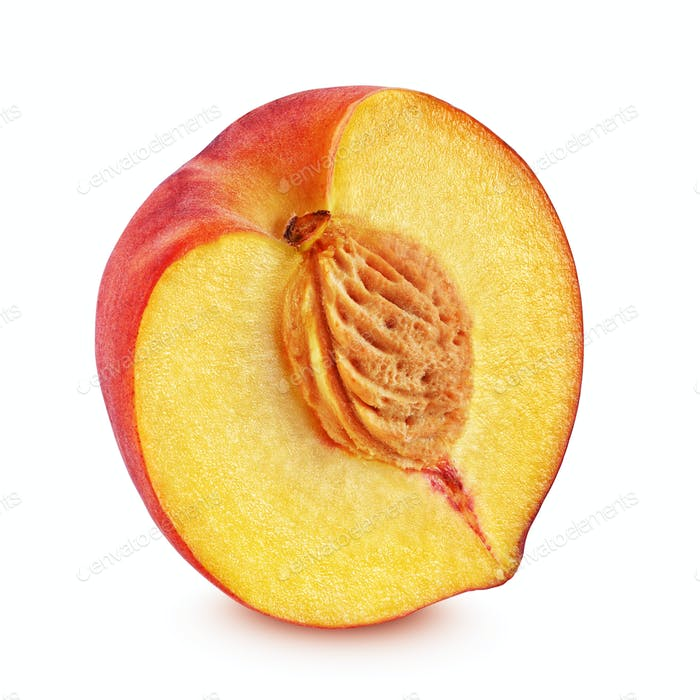 Half of red peach isolated on white background