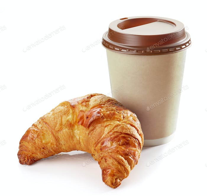 freshly baked croissant and coffee