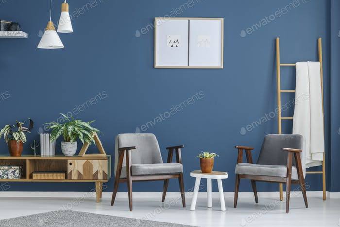 Grey and blue living room