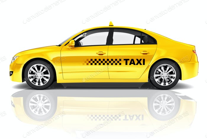 Side View Studio Shot Of Yellow Sedan Taxi Auto