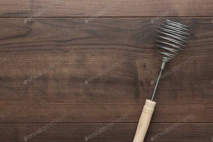 Retro Egg Whisk With Wooden Handle