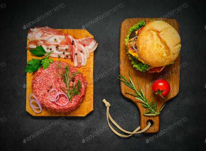 Raw Meat and Bacon with Burger Sandwich in Top View