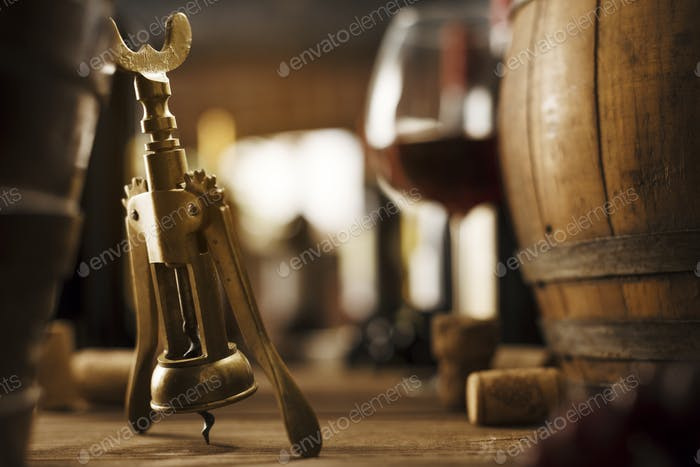 Wine tasting in the cellar and vintage corkscrew