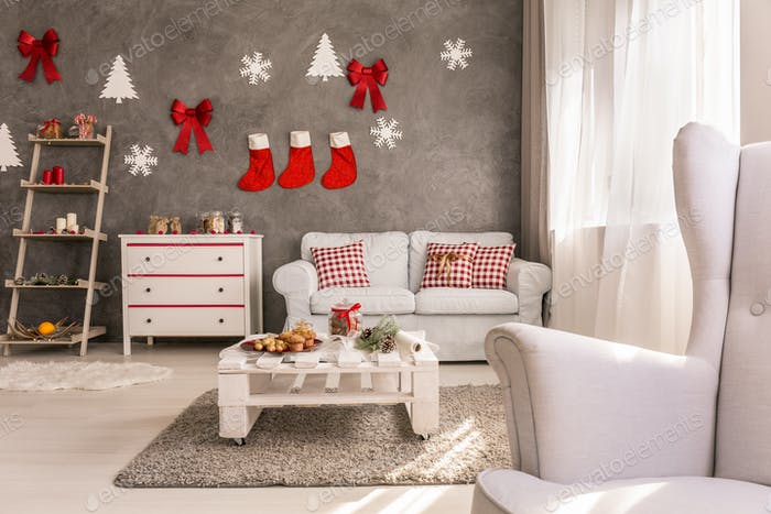 Cozy living room with christmas design