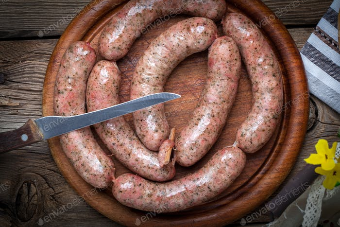 Homemade white sausage out pigs meat.